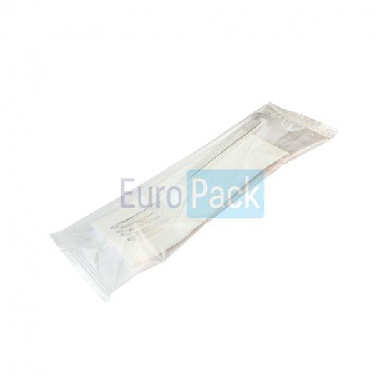 Вилка Люкс 180 белая в упаковке с салфеткой